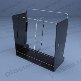 Буклетница настольная 2-х секционная, черный акрил